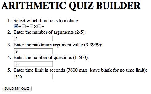 Serge's Arithmetic Quiz Builder | GEEXperiments
