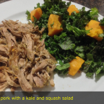 Pulled pork, kale and squash salad