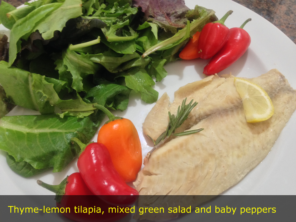 Thyme-lemon tilapia, mixed green salad and baby peppers