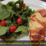 Chicken saltimbocca, swiss chard and tomato salad